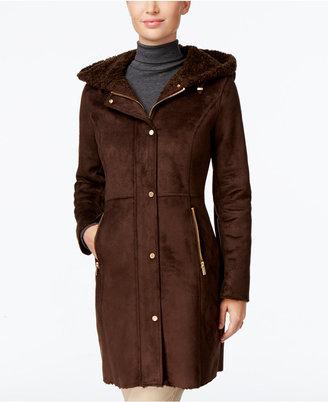 Jones New York Hooded Faux-Shearling Walker Coat $360 thestylecure.com