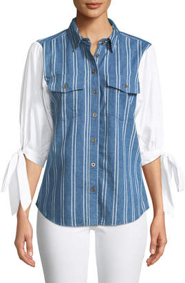 Velvet Heart Thompson 3/4 Tie-Sleeve Button-Front Blouse