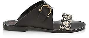 Salvatore Ferragamo Women's Cassie Flat Leather & Cotton Sandals