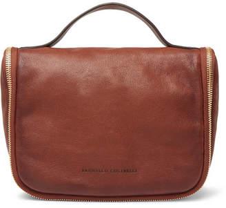 Brunello Cucinelli Burnished Full-Grain Leather Wash Bag