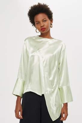 Topshop Womens Petite Satin Asymmetric Tunic Top - Mint