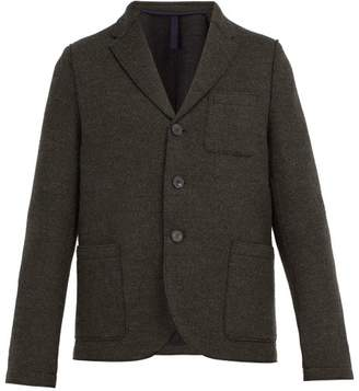 Harris Wharf London Single Breasted Wool Blend Herringbone Blazer - Mens - Green