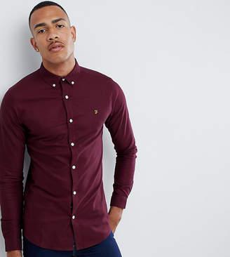 Farah Sanfers skinny fit buttondown oxford shirt in burgundy