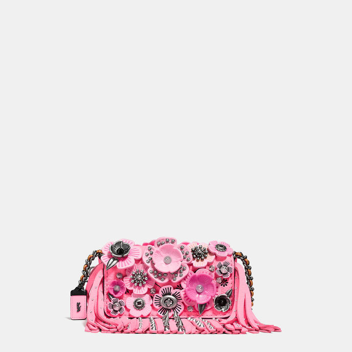 Coach  COACH Coach Dinkier In Pebble Leather With Wild Tea Rose Fringe