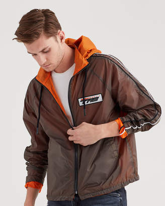 7 For All Mankind Reversible Nylon Jacket In Grey And Orange