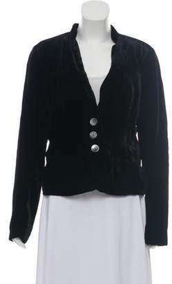 Calvin Klein Jeans Velvet Button-Up Blazer Black Velvet Button-Up Blazer