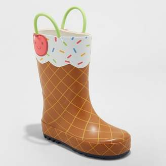 Cat & Jack Toddler Girls' Minerva Ice Cream Rain Boots Brown