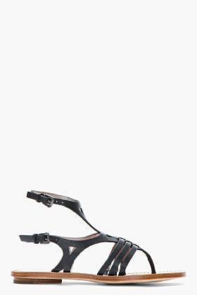 Sigerson Morrison BELLE Black Leather Art Deco Flat Sandals