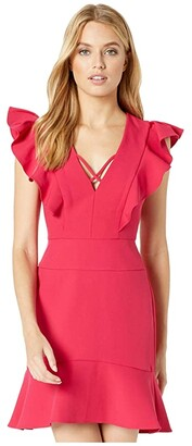 BCBGMAXAZRIA Short Ruffle Dress with Lace-Up Detail