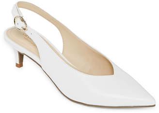 3554a2a2685 Liz Claiborne Womens Quebec Buckle Pointed Toe Kitten Heel Pumps