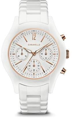 Bulova CARAVELLE Designed by Caravelle Women's Chronograph White Ceramic Bracelet Sport Watch 39mm
