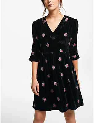 Suncoo Clare Floral Velvet Dress, Noir