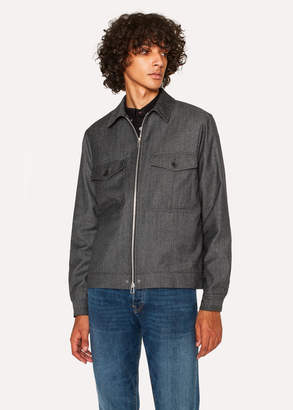 Paul Smith Men's Charcoal Grey Wool-Blend Twill Patch-Pocket Jacket