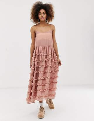 Sister Jane midi cami dress with full tiered ruffle skirt