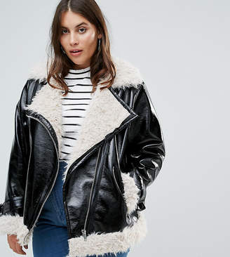 Asos Cracked Vinyl Biker Jacket With Curly Borg Liner