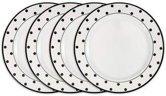 Q Squared Moonbeam Dots Black Melamine 4-Pc. Dinner Plate Set
