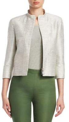 Akris Punto Women's Striped Silk Elbow-Sleeve Jacket - Beige - Size 8