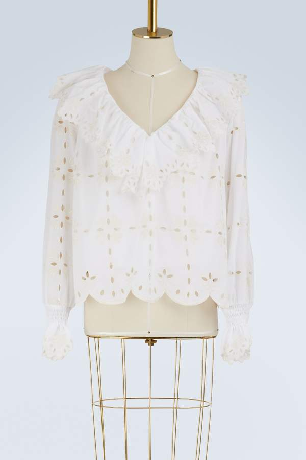 See by Chloe Cotton top with ruffles