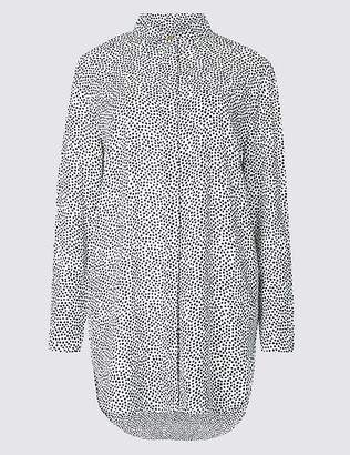 Marks and Spencer Printed Longline Long Sleeve Shirt