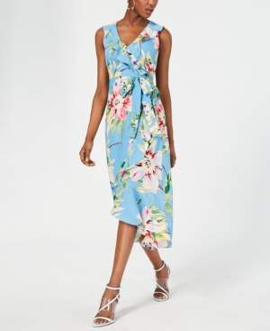 Vince Camuto Petite Floral Ruffled Midi Dress