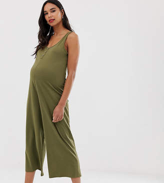 New Look Maternity sleeveless jersey jumpsuit in green