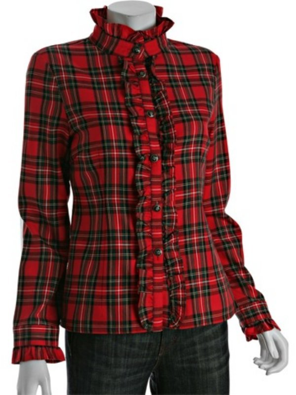 Priorities red english plaid 'The Delia' ruffle blouse