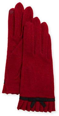 Portolano Wool Bow Ruffle Tech Gloves