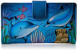 Anuschka Anna by Hand Painted Leather | Two Fold Wallet/Clutch | Playful Dolphin