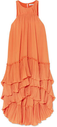 Halston Tiered Plissé-georgette Dress - Orange