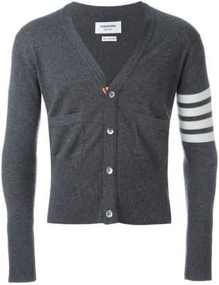 Thom Browne V-Neck Cardigan With 4-Bar Stripe In Medium Grey Cashmere