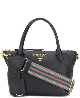 Prada striped shoulder strap tote