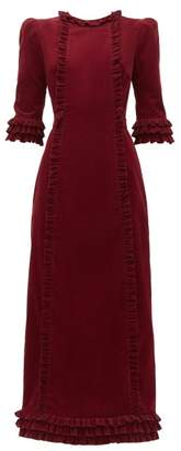 The Vampire's Wife Cate Ruffle Trimmed Cotton Corduroy Midi Dress - Womens - Burgundy