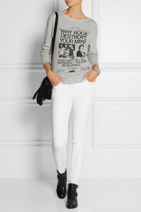 R 13 Printed distressed cotton-terry sweatshirt