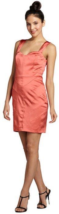 Vera Wang burnt orange sateen banded sweetheart party dress