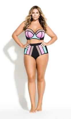City Chic Citychic Colour Block Bikini Brief - mango