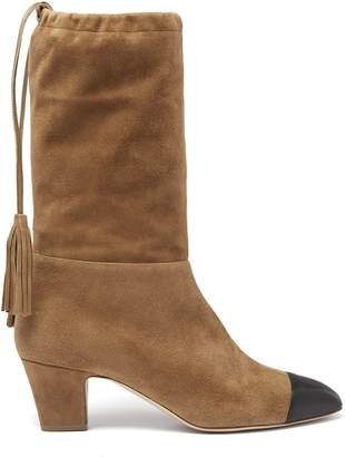 Rupert Sanderson Tiptoe square-toe suede knee-high boots