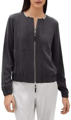 Lafayette 148 New York Aviana Artistry Silk Bomber Jacket