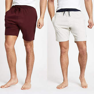 River Island Navy 'R96' shorts two pack