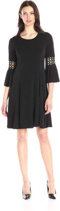 NY Collection Women's 3/4 Bell Sleeve Crochet Trim Dress