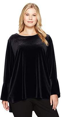 Calvin Klein Women's Plus Size Long Sleeve Blouse with Flare