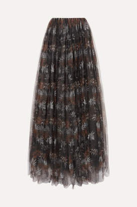 Brunello Cucinelli Pleated Printed Tulle Maxi Skirt - Black
