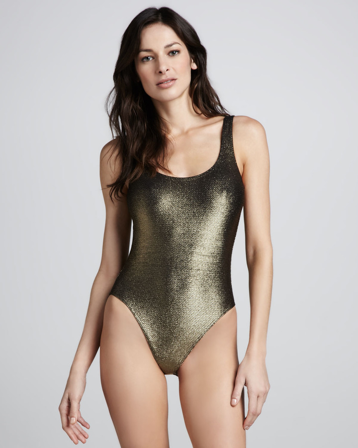 Milady Marie France Van Damme Nageur Textured Metallic One-Piece Swimsuit