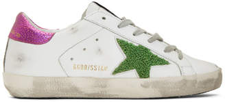 Golden Goose White and Pink Lurex Star Superstar Sneakers