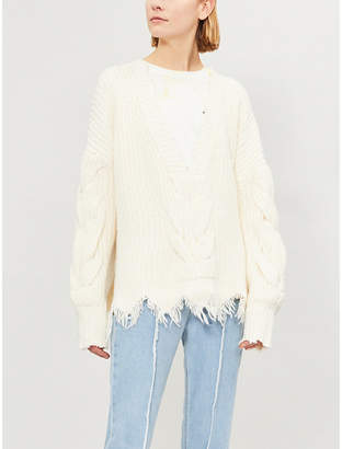 Wildfox Couture Logan distressed knitted cotton-blend jumper