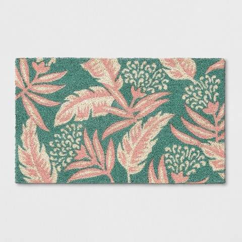 "Opalhouse Teal Green/Pink Leaf Doormat 1'6""X2'6"""