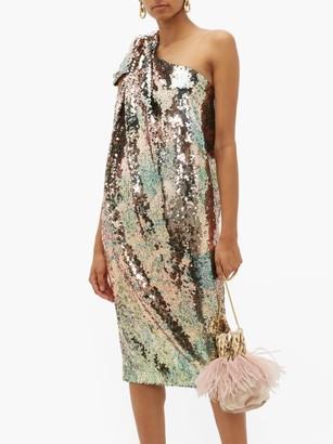 Halpern One Shoulder Sequinned Midi Dress - Womens - Multi