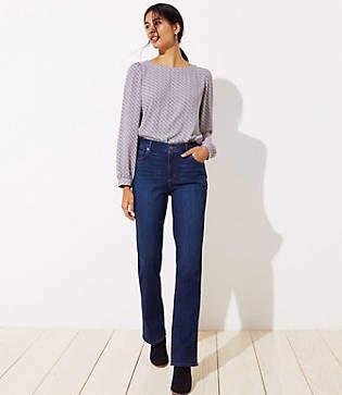 LOFT Tall Curvy Bootcut Jeans in Dark Classic Indigo Wash