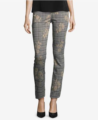 ECI Floral-Printed Plaid Pants