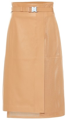 Fendi Leather midi skirt