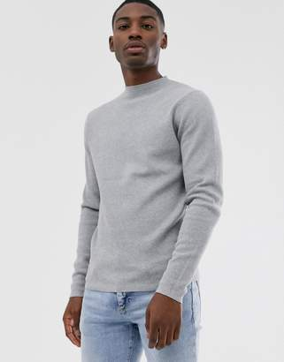 Selected ribbed crew neck sweater in gray